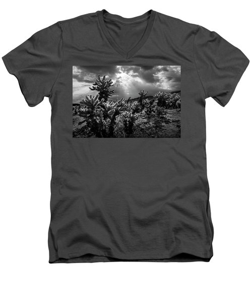 Men's V-Neck T-Shirt featuring the photograph Cholla Cactus Garden Bathed In Sunlight In Black And White by Randall Nyhof