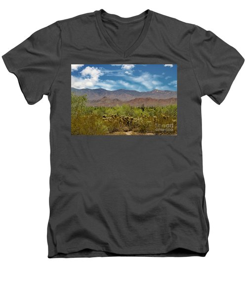 Cholla Saguaro And The Mountains Men's V-Neck T-Shirt by Anne Rodkin