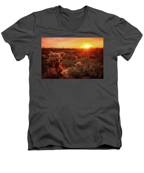 Men's V-Neck T-Shirt featuring the photograph Cholla Sunset In The Sonoran  by Saija Lehtonen