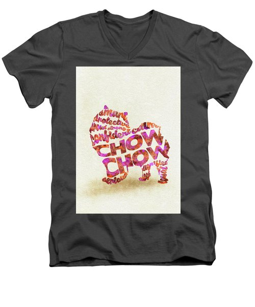 Men's V-Neck T-Shirt featuring the painting Chow Chow Watercolor Painting / Typographic Art by Ayse and Deniz