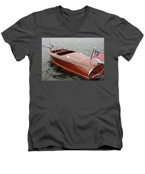 Chris Craft Barrel Back Men's V-Neck T-Shirt