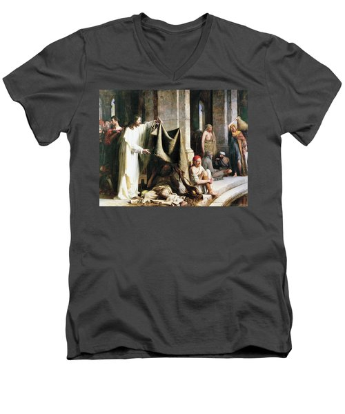 Christ Christ And The Man At The Healing Wel Men's V-Neck T-Shirt by Carl Heinrich Bloch