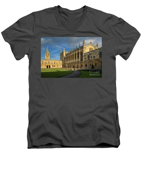 Men's V-Neck T-Shirt featuring the photograph Christ Church College II by Brian Jannsen