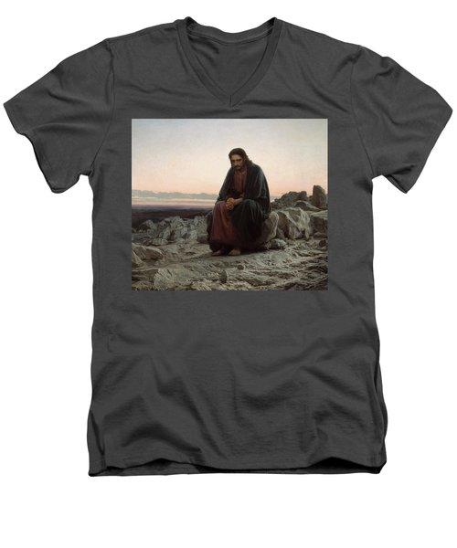 Christ In The Desert Men's V-Neck T-Shirt