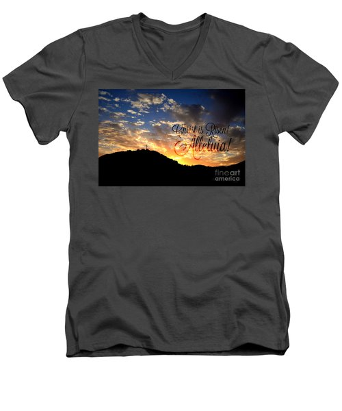 Christ Is Risen Men's V-Neck T-Shirt by Sharon Soberon