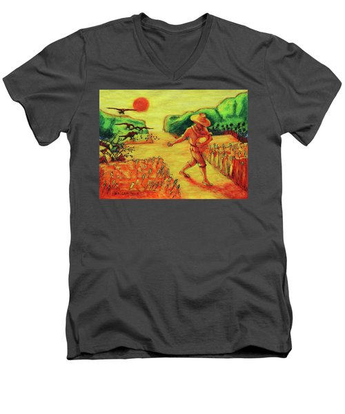 Men's V-Neck T-Shirt featuring the painting Christian Art Parable Of The Sower Artwork T Bertram Poole by Thomas Bertram POOLE