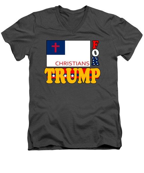 Christians For Trump Men's V-Neck T-Shirt