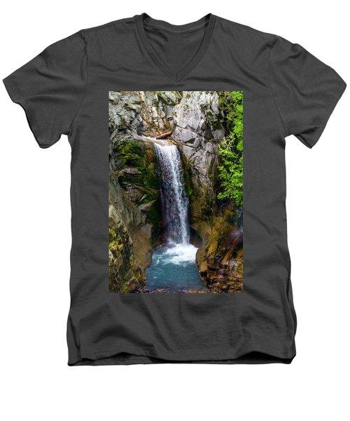 Christine Falls Mt Rainier Men's V-Neck T-Shirt