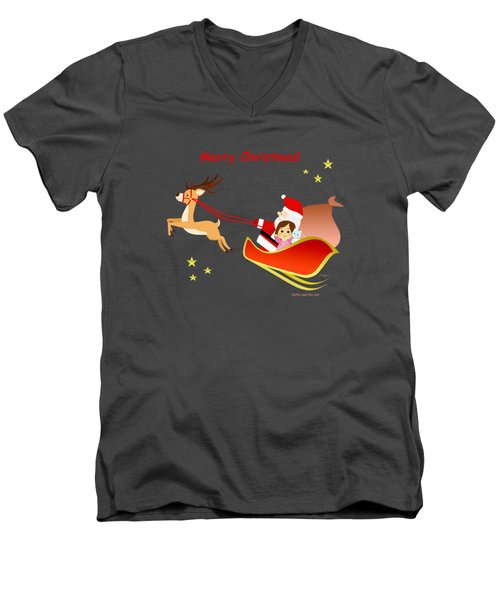 Christmas #3 And Text Men's V-Neck T-Shirt