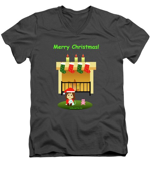 Christmas #4 And Text Men's V-Neck T-Shirt