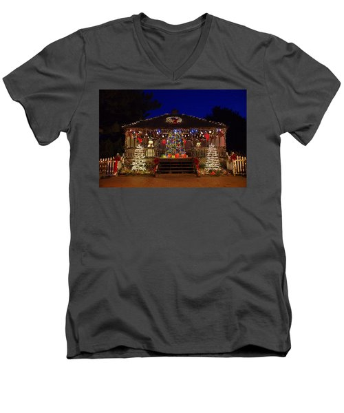 Christmas At The Lighthouse Gazebo Men's V-Neck T-Shirt