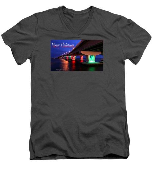 Christmas Bridge Men's V-Neck T-Shirt by John Loreaux