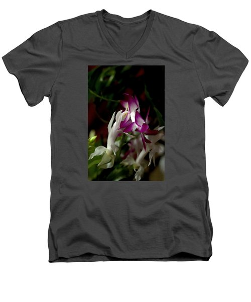 Men's V-Neck T-Shirt featuring the photograph Christmas Cactus by B Wayne Mullins