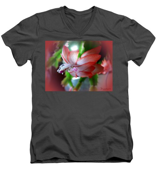 Men's V-Neck T-Shirt featuring the photograph Christmas Cactus by EricaMaxine  Price