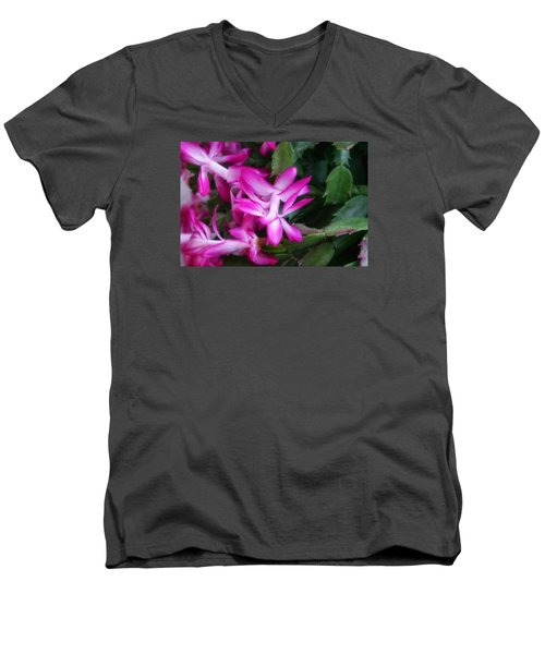 Men's V-Neck T-Shirt featuring the photograph Christmas Cactus by Joan Bertucci