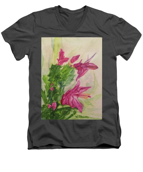 Men's V-Neck T-Shirt featuring the painting Christmas Cactus by Wendy Shoults
