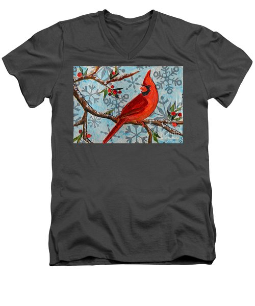 Christmas Cardinal Men's V-Neck T-Shirt by Li Newton