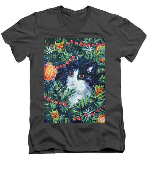 Christmas Catouflage Men's V-Neck T-Shirt