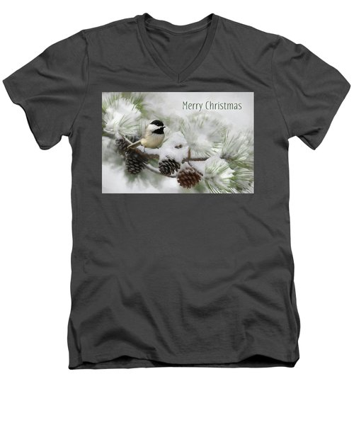 Men's V-Neck T-Shirt featuring the photograph Christmas Chickadee by Lori Deiter