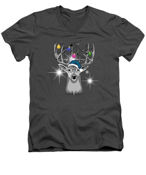 Christmas Deer Men's V-Neck T-Shirt by Mark Ashkenazi