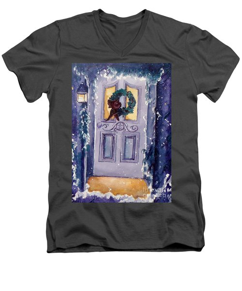 Christmas Eve Men's V-Neck T-Shirt by Jan Bennicoff