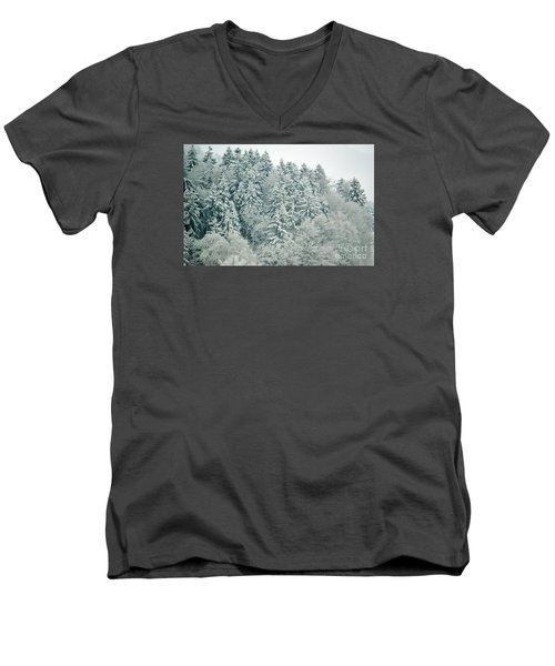 Men's V-Neck T-Shirt featuring the photograph Christmas Forest - Winter In Switzerland by Susanne Van Hulst