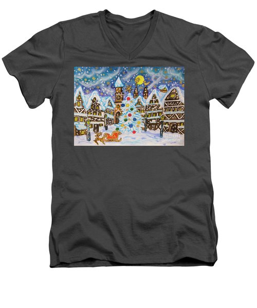 Christmas In Europe Men's V-Neck T-Shirt by Irina Afonskaya
