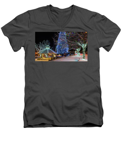 Men's V-Neck T-Shirt featuring the photograph Christmas In Leavenworth by Dan Mihai