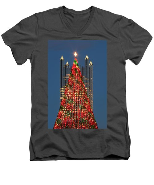 Men's V-Neck T-Shirt featuring the photograph Christmas In Pittsburgh 2016  by Emmanuel Panagiotakis