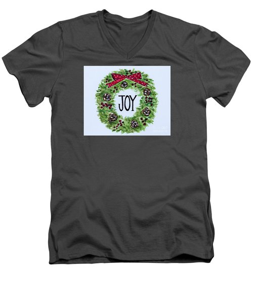 Men's V-Neck T-Shirt featuring the painting Christmas Joy by Elizabeth Robinette Tyndall