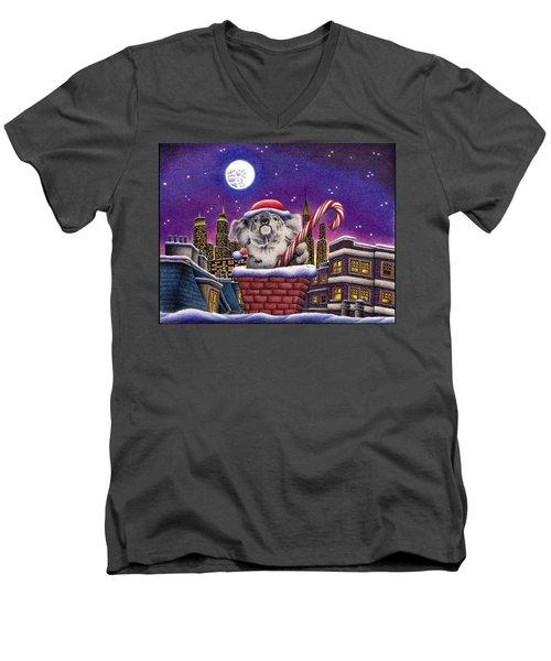 Christmas Koala In Chimney Men's V-Neck T-Shirt by Remrov