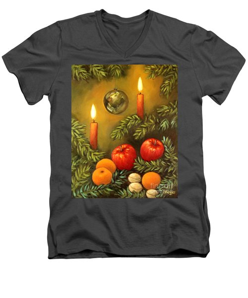 Men's V-Neck T-Shirt featuring the painting Christmas Lights by Inese Poga
