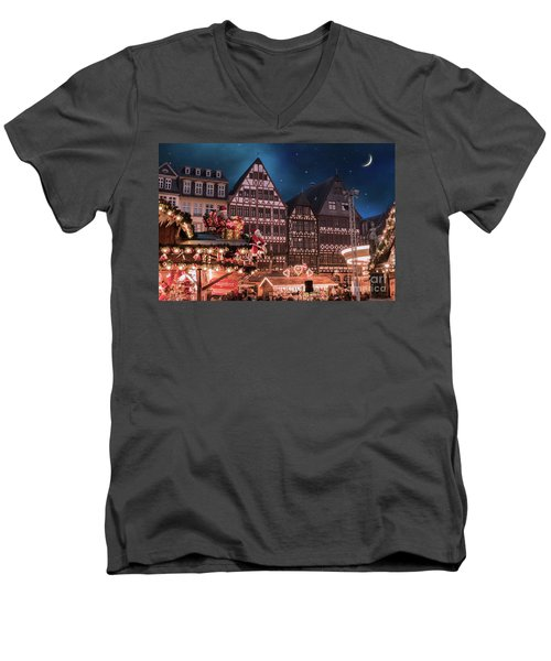 Men's V-Neck T-Shirt featuring the photograph Christmas Market by Juli Scalzi