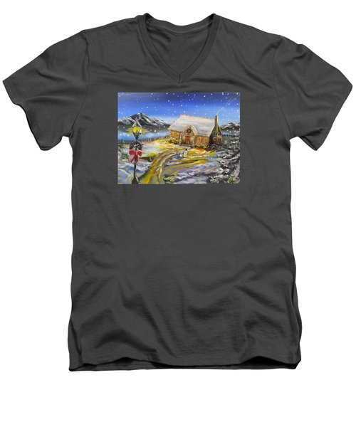Christmas On The Bay Men's V-Neck T-Shirt by Kevin F Heuman