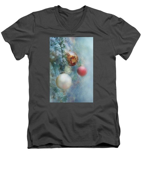 Men's V-Neck T-Shirt featuring the photograph Christmas - Ornaments by Nikolyn McDonald