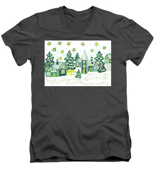 Christmas Picture In Green Men's V-Neck T-Shirt by Irina Afonskaya