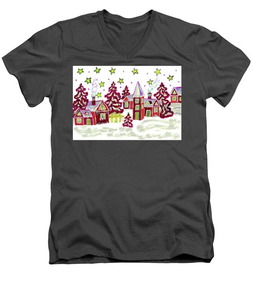 Christmas Picture In Red Men's V-Neck T-Shirt