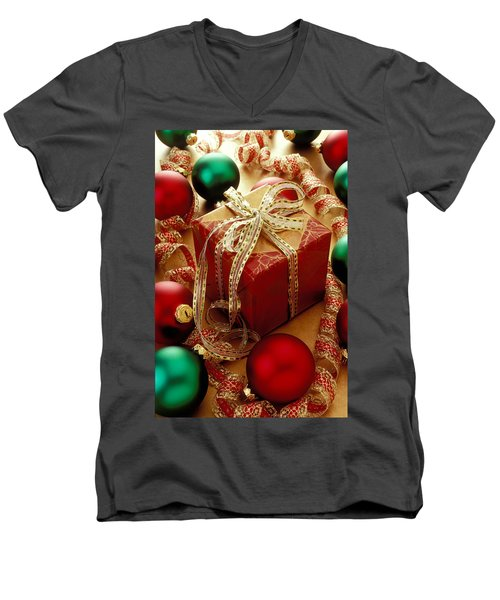 Christmas Present And Ornaments Men's V-Neck T-Shirt by Garry Gay
