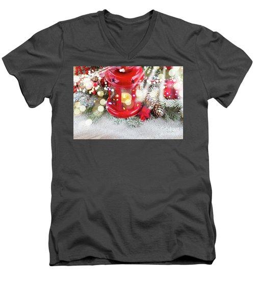 Christmas Red Lantern  Men's V-Neck T-Shirt by Anastasy Yarmolovich