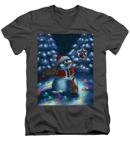 Men's V-Neck T-Shirt featuring the painting Christmas Season by Veronica Minozzi