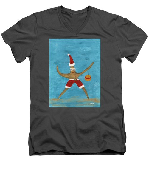 Christmas Starfish Men's V-Neck T-Shirt by Jamie Frier