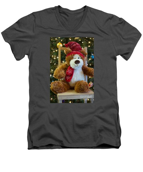 Men's V-Neck T-Shirt featuring the photograph Christmas Teddy Bear by Vinnie Oakes