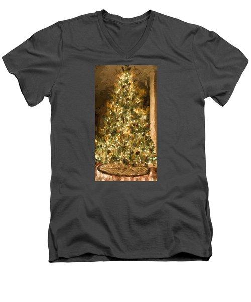 Christmas Tree Men's V-Neck T-Shirt by Cathy Jourdan