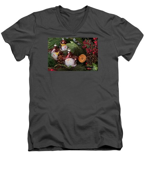 Men's V-Neck T-Shirt featuring the photograph Christmas Tree Decor by Vinnie Oakes