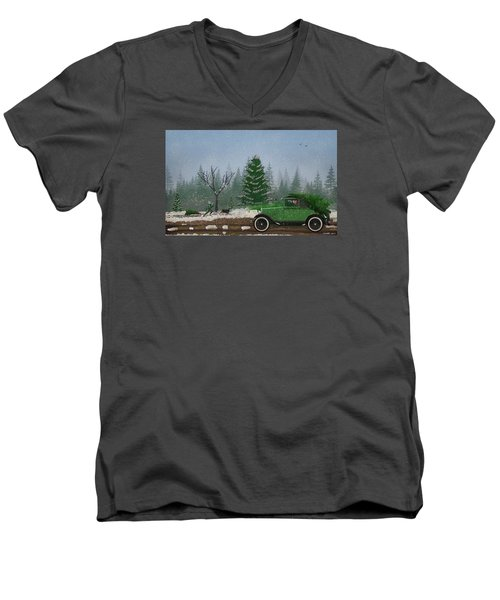 Christmas Tree Hunters Men's V-Neck T-Shirt by Ken Morris