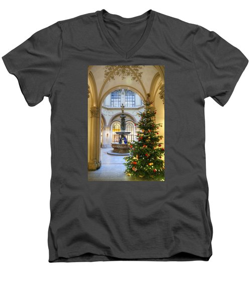Christmas Tree In Ferstel Passage Vienna Men's V-Neck T-Shirt