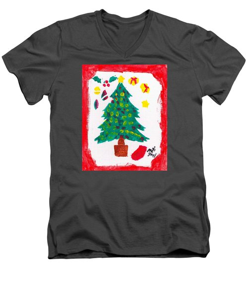 Men's V-Neck T-Shirt featuring the painting Christmas Tree by Artists With Autism Inc