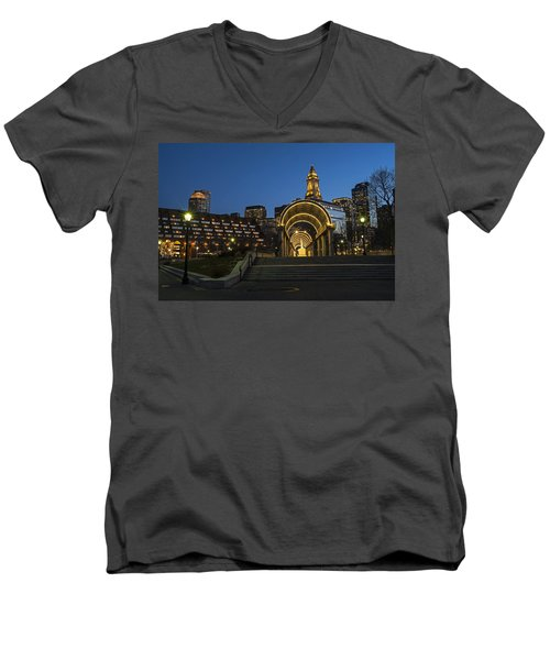 Christopher Columbus Park Boston Ma Trellis Custom House Men's V-Neck T-Shirt