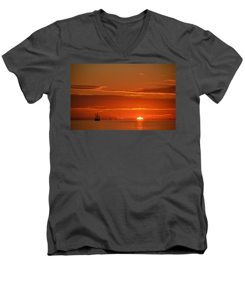 Christopher Columbus Replica Wooden Sailing Ship Nina Sails Off Into The Sunset Men's V-Neck T-Shirt by Jeff at JSJ Photography
