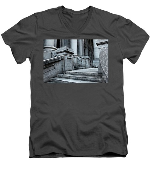 Men's V-Neck T-Shirt featuring the photograph Chrome Balustrade by Stephen Mitchell